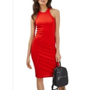 Topshop Red Racerback Midi Dress size 6